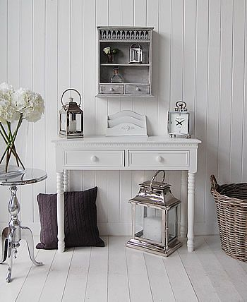 White Console Table with porcelain handles, shown with accessories as a hall piece of furniture
