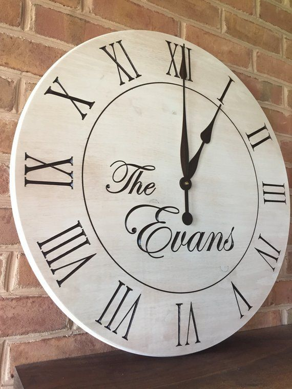 Farmhouse Wall Clock 24 Wood Clock Personalized Etsy Wall Clock Custom Clocks Farmhouse Clocks