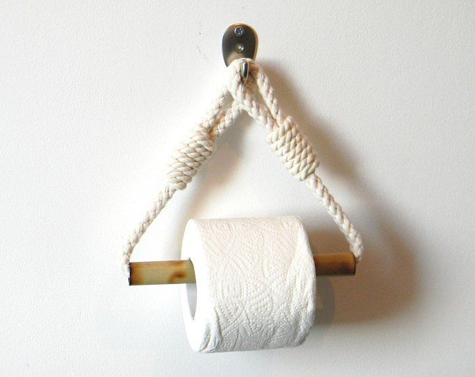 Toilet Paper Holder..Cotton Rope Nautical Decor..for bathroom..Bamboo Roll Holder..