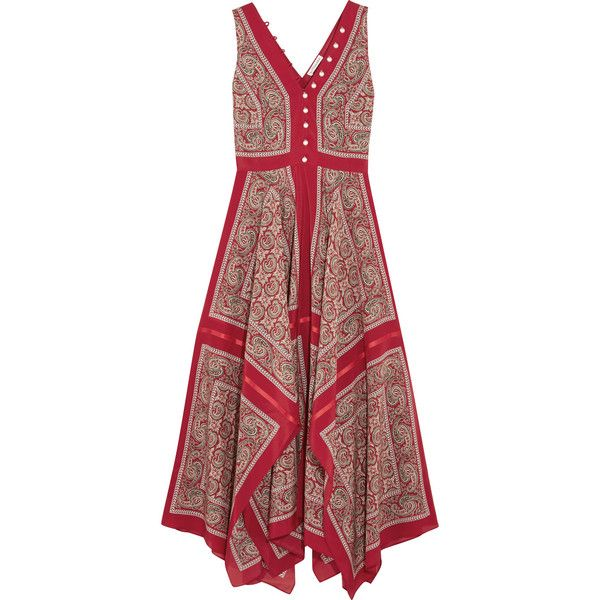 Altuzarra - Clemmie Paisley-print Silk Maxi Dress (61.160 RUB) ❤ liked on Polyvore featuring dresses, red, pencil dresses, americana dress, red paisley dress, altuzarra dress and american dress
