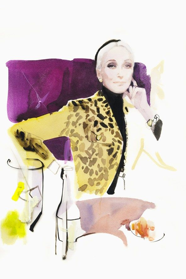 Carmen Dell'Orefice. David Downton's Fumoir Series