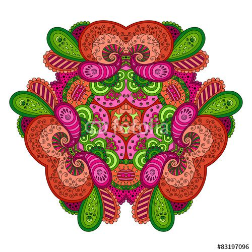 Вектор: Pink-green mandala on white background.