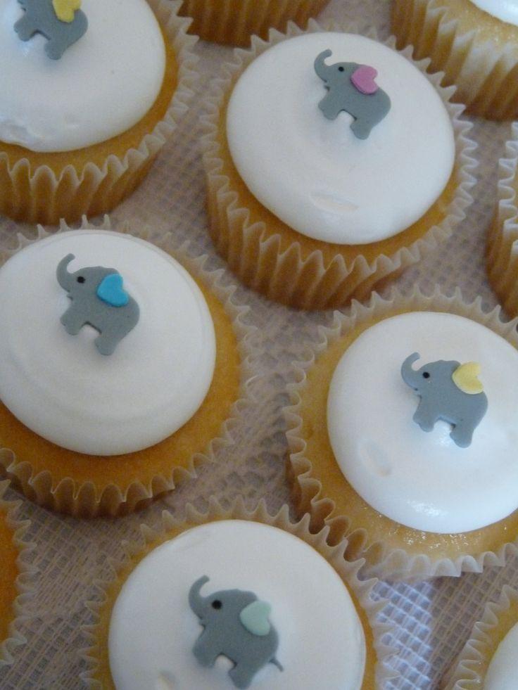 baby elephant cupcakes #baby #shower #cupcake #elephant