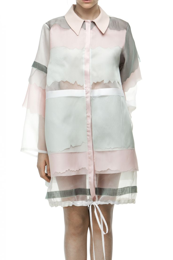 Atelier Kikala pink, gray and white semi sheer silk coat