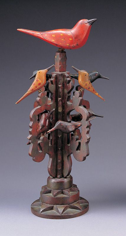 "BIRD TREE / artist unidentified, Pennsylvania, late 19th century, paint on wood with wire, 15 7/8 x 6 3/4"" diam.,  American Folk Art Museum, gift of Mr. and Mrs. Austin Fine, 1981.12.19, photo by John Parnell"