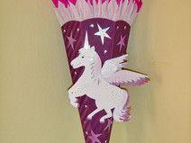 Schultüte Zuckertüte BASTELSET Pegasus lila