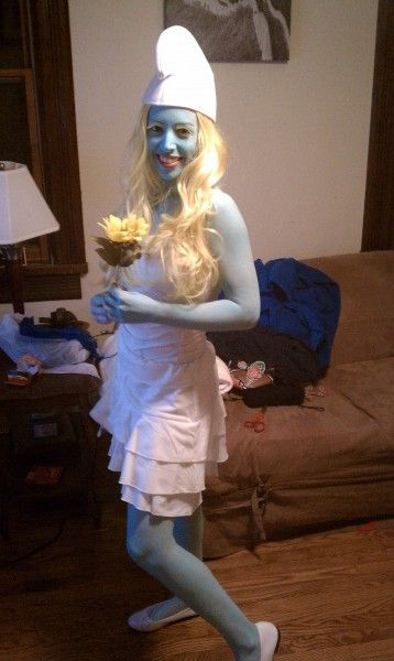 I really like this version of a Smurfette costume. Flats are a much better idea than heals for a night out.