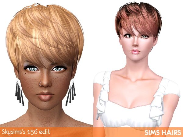 Skysims S 156 Short Hairstyle Highlight Edit By Sims Hairs