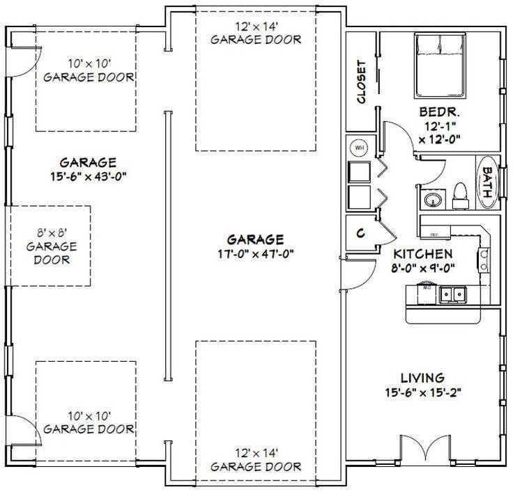 50x48 Garage 1 BR 1 BA PDF Floor Plan 2274 sq ft Etsy in