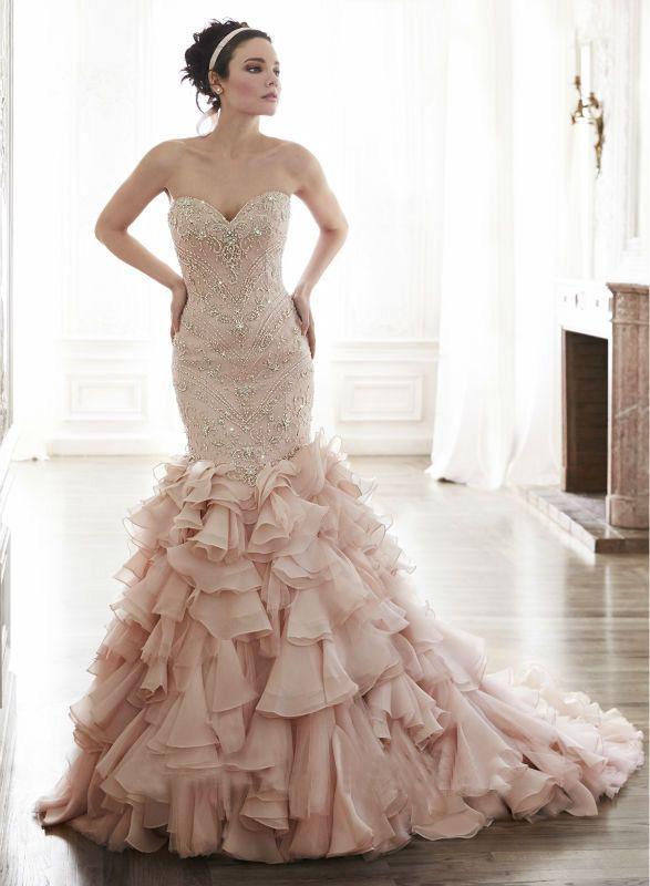 安い完全に ビーズ の恋人の ボディ ス コルセット フリル ピンク の ウェディング ドレス人魚2015新しい ブライダル ガウン、購入品質ウェディング ドレス、直接中国のサプライヤーから: 当店へようこそ 完全にビーズの恋人オーガンザはフリルキャミソールコルセット2015新しいピンクのウェディングドレス人魚の花嫁衣装 このガウンカスタム