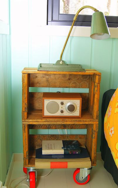 99 best images about re purpose it wooden crates on for Wooden crate bedside table