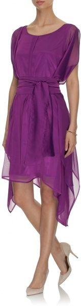 asymetryczna sukienka wiązana w pasie fuksja