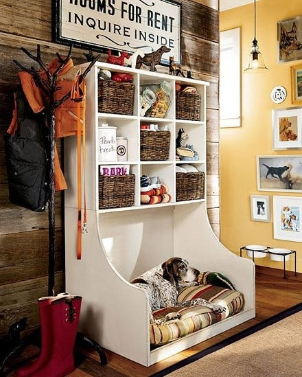 i love this set up.  it has all of your pet supplies in one place, but it also houses the dog bed.  and it looks fabulous!