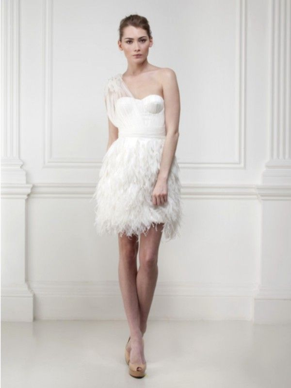 Non traditional wedding dresses that will have you for Short feather wedding dress