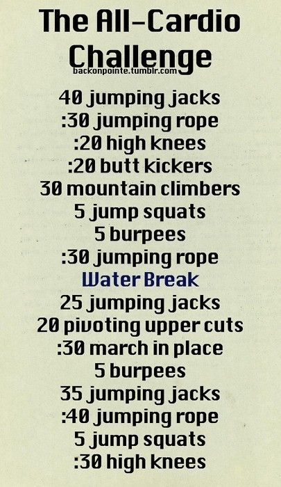 cardio challenge: All Cardio, Workout Exerci, Workout Challenges, Fitness, An Workout, Menu, Cardio Workout, Home Workout, The Challenge