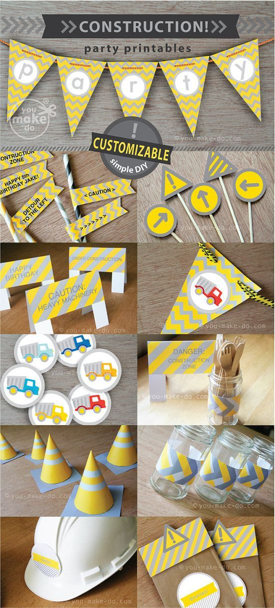 INSTANT DOWNLOAD construction party printables—Customizable party printables to make your own construction party theme for birthday parties and baby showers! This party printable kit is filled with so many printables to make! Some of the printables in this set are even CUSTOMIZABLE—add special messages, children's names, or other words to your customizable party printables yourself! Simply click and type on your printables before printing at home or at your favorite copy shop!
