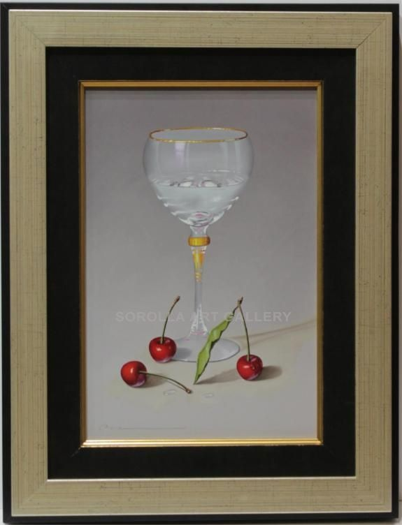 Casas : Glass. Medium: Oil on wood Measurements (cm): 43x33 Canvas measurements (cm): 30x20 Interior frame: Yes We have before us a very decorative oil painting of a hyper-realist character with a great deal of skill, smooth colours and very decorative.  $416.82