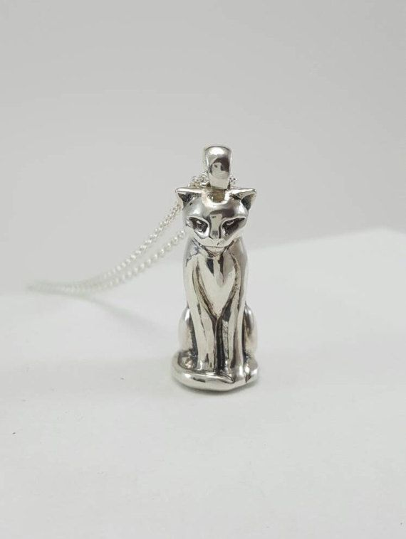 Cat Necklace in Sterling Silver, Silver Cat Pendant, Sitting Cat, Evil Cat necklace, Mean Cat necklace, silver cat jewelry, silver cat charm