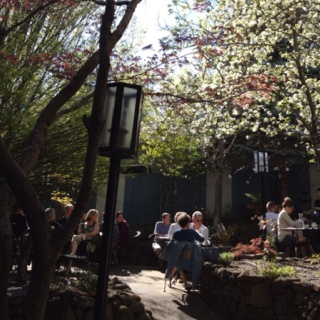 The Dragonfly Restaurant in Ashland, Oregon on the first warm Sunday morning of spring
