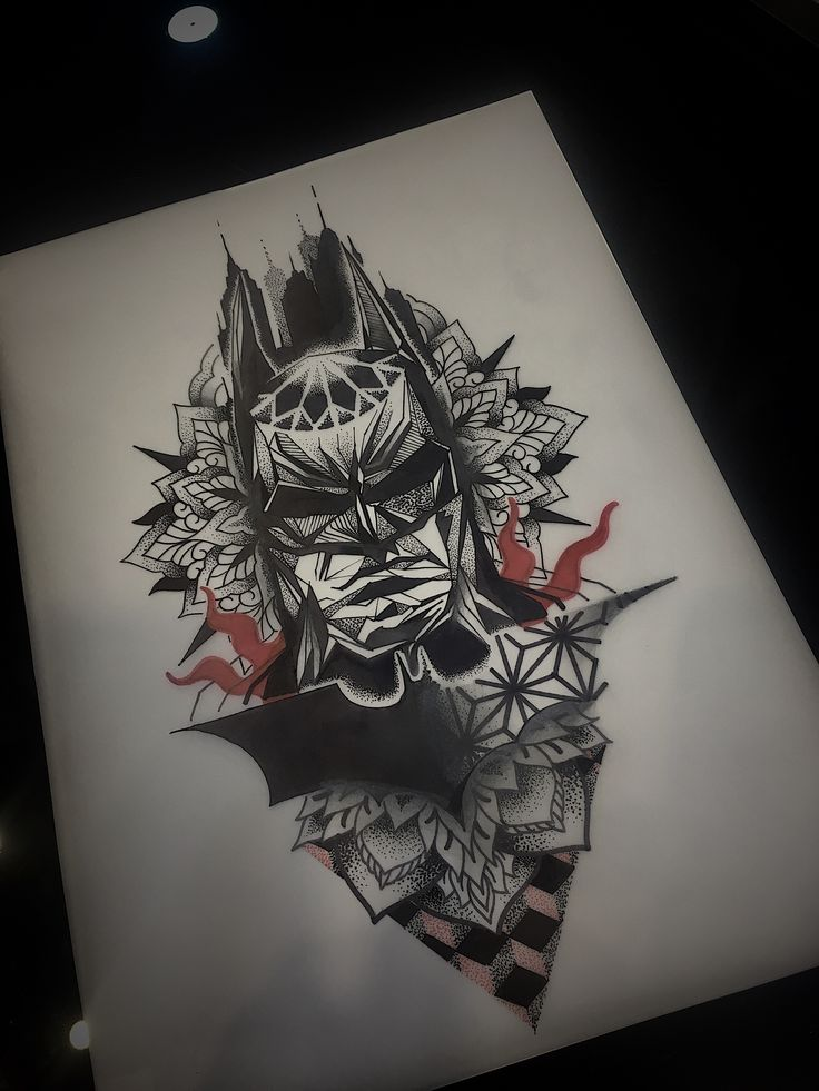 Batman mandala mixed by boss667 at Athens tattoo studio