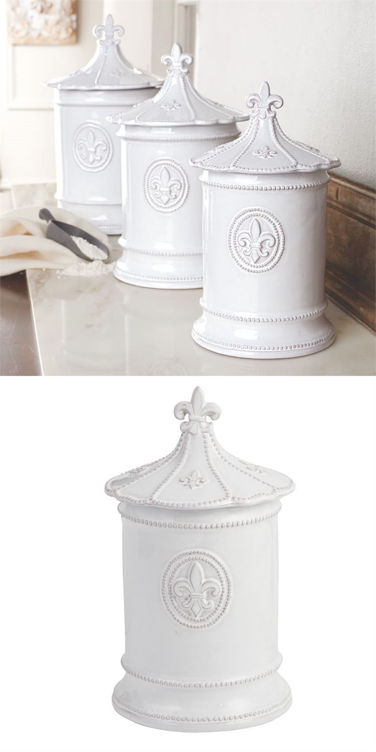 canisters and jars 20654 mud pie fleur de lis kitchen canisters canisters and jars 20654 mud pie fleur de lis kitchen canisters set of 3 milk glazed terracotta buy it now only 119 95 on ebay pinterest