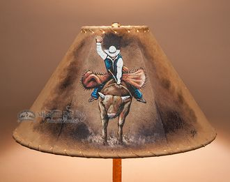 "Painted Western Leather Lamp Shade - 16"""" Bull Rider (PL116)"