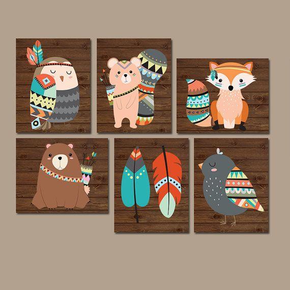 Vivero TRIBAL arte de la pared, lienzo o grabados arte de la pared bosque, animales del bosque de madera de plumas, oso zorro búho, género Neutral Set de decoración 6