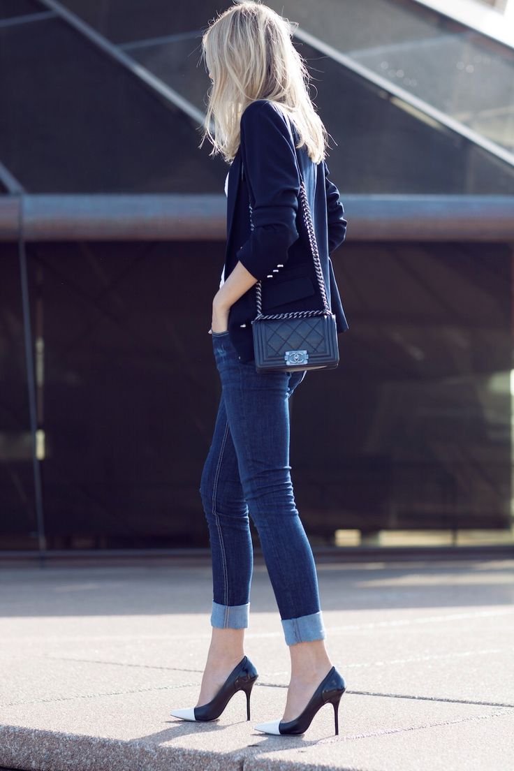 A casual look turned up by adding killer accessories. #Chanel #denim #streetsyle