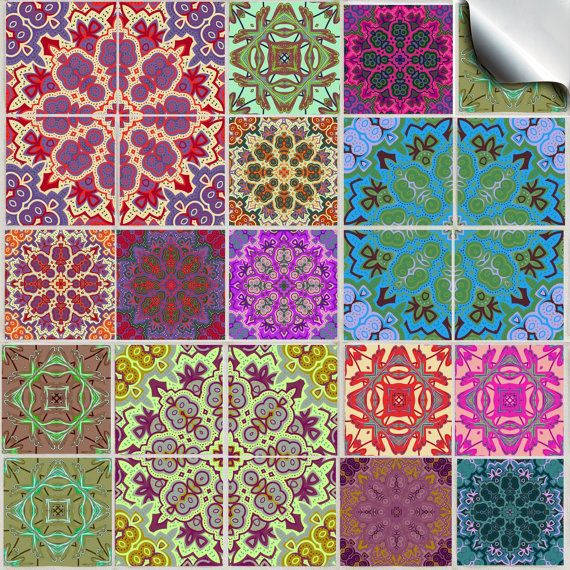 Pack of various traditional mosaic tile stickers --(TP 54)-- kitchen tile stickers / tile transfers – factory direct price,  no middleman
