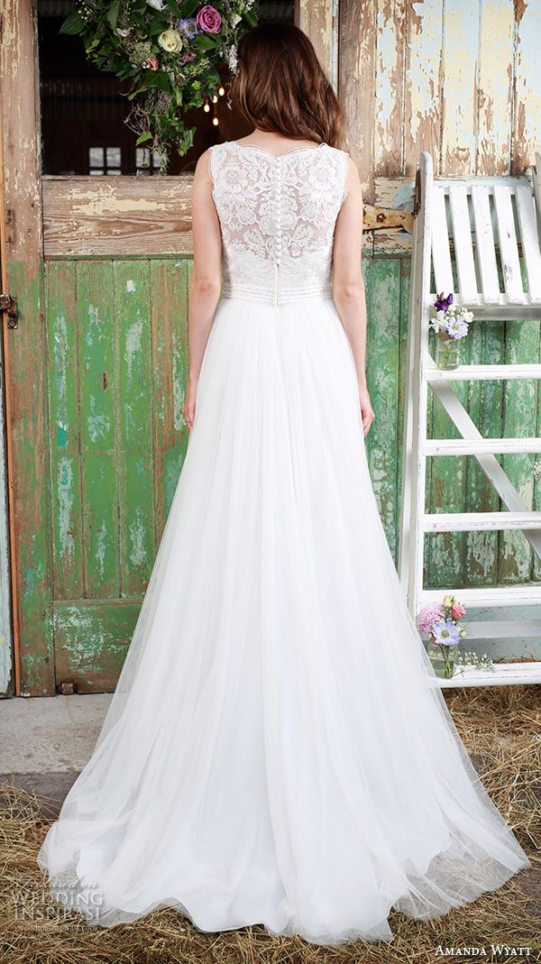 """Amanda Wyatt 2016 Wedding Dresses — Promises Of Love Bridal Collection   Wedding Inspirasi   """"Chantilly"""" -- Beautiful Embroidered Lace & Tulle Wedding Gown Featuring Sleeveless Embroidered Lace Bodice With Bateau Neckline, Lace Back, Tulle Skirt Flowing Down To Court Length Train; (Back View)"""