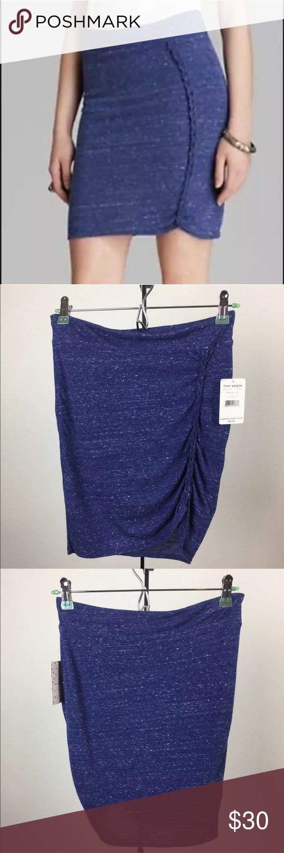 "Free People Stretch Jersey Knit Skirt Free People Stretch Jersey Knit Skirt Womens Admiral Blue Size Small New with Tag.  ""Lots of Knots""  Measurements Laying Flat in inches: Length: 19.25"" Waist: 14"" Free People Skirts"