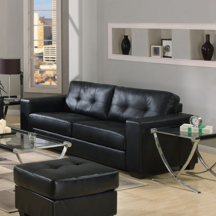 Black Sofas For Modern Living Room Interior Minimalist Glass Top Table Finished With Wooden Flooring On Grey Wall