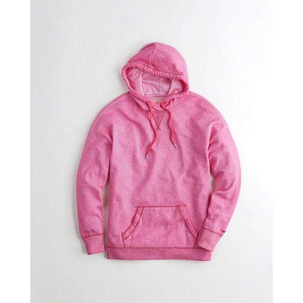Hollister Garment-Dyed Oversized Hoodie ($40) ❤ liked on Polyvore featuring tops, hoodies, pink, oversized hooded sweatshirt, hooded pullover, boyfriend hoodie, pink hoodie and fleece hooded sweatshirt