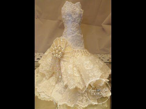 Precioso tutorial para hacer vestido de novia de muñeca con papel maché y tela de encaje