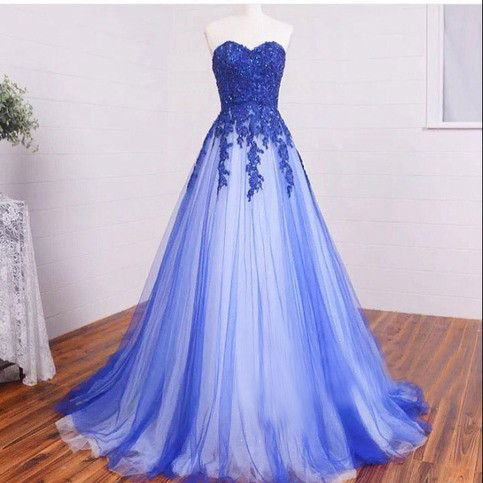 A Line Strapless Sweetheart Blue Prom Dresses with Beaded Applique Bodice…