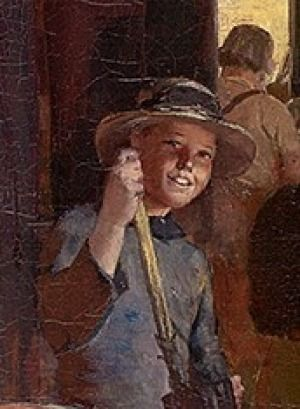"""2 of 3 The smiling Tar Boy, aka Susan Bourne, as she was painted in Tom Roberts' """"Shearing the Rams"""". """"Most people naturally think the tar boy [who applies tar to the skin of sheep cut during shearing] in the centre of the painting was a boy, but it actually was my grandmother,"""" says Ambrose, a life-long resident of Corowa. """"She was asked to help create atmosphere by sweeping the floors of the shed and in exchange for that he included her in the painting,"""""""