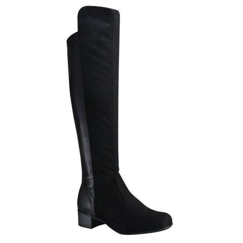 Bota Montaria Over Knee Vizzano 3045.106 - Preto (Camurça Velvet/Napa Strech) - Calçados Online Sandálias, Sapatos e Botas Femininas | Katy.com.br