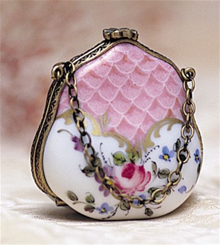 Limoges Pink Purse with a Rose Box