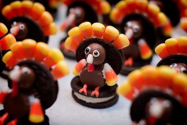 "Oreo turkey cookie.  One of my kids reminded me that we have to make these again this year.  They were so cute when we made them.  We did have to stick them in the freezer for a bit to solidify the frosting we used as ""glue."""