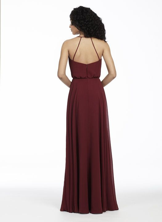 Style 5752   Burgundy chiffon A-line bridesmaid gown, bloused bodice with curved V-neckline, natural waist, circular skirt.