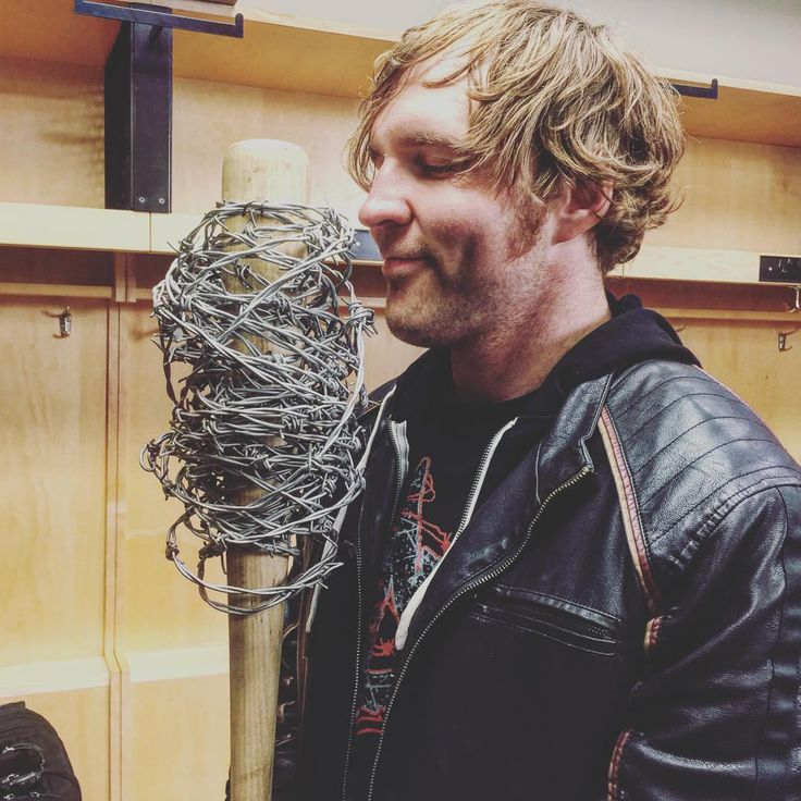 """Mick Foley gives Dean his signature spiked baseball bat """"Barbie"""" for his match against Brock Leasnar at Wrestlemania 32!!!! Best moment in HISTORY"""