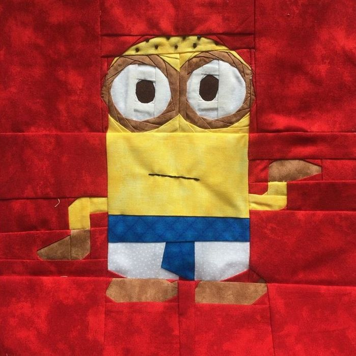 """Minnions Eqyptian Minion by Jennifer Rowles Tested by Carlita Brown and Jennifer Rowles 12"""" Paper Pieced and Embroidered #minionQAL Free from fandominstitches.com Free for personal and non-profit use only"""