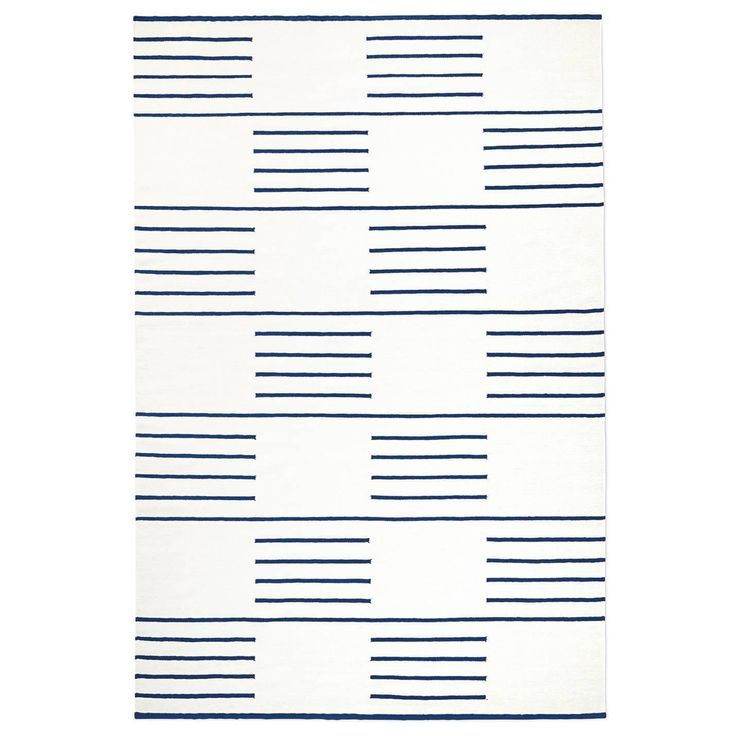 Swedish Designed Handwoven Wool Rug, Classic Cream/Blue
