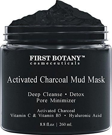Activated Charcoal Mud Mask 8.8 fl oz. - For Deep Cleansing & Exfoliation, Pore Minimizer & Reduces Wrinkles, Acne Scars, Blackhead Remover & Anti Cellulite Treatment, Face Mask & Facial Cleanser #acnescarstreatment