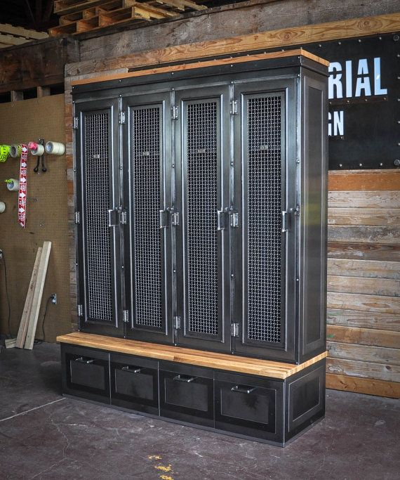 Vintage industrial inspired storage for an entryway or locker room. Larger drawer storage underneath, lockers up top. Built by hand in our shop