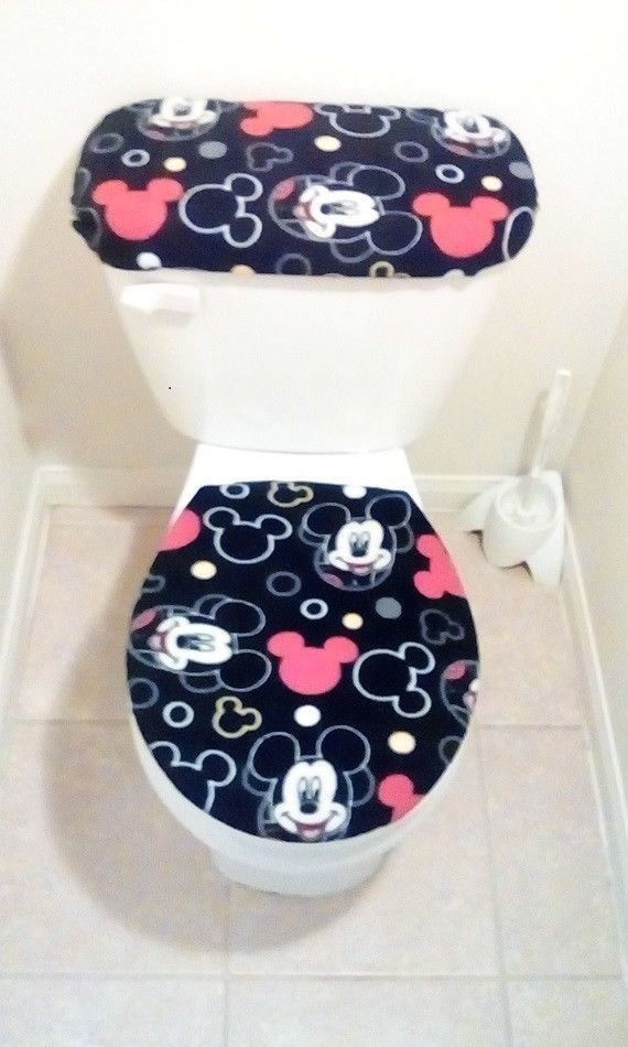 Bathmats Rugs And Toilet Covers 133696 Disney Mickey Mouse Heads Fleece Toilet Seat Cover Set Bathroom Accessories Toilet Seat Cover Toilet Covers Toilet Seat