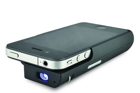 Pocket Projector, iPhone Projector for iPhone 4/4s & iPod Touch, Cordless Projector for iPhone 4/4s & iPod Touch, Portable Projector for iPhone 4/4s & iPod Touch + Extended Battery + Speakers + Case (Colour: Black)