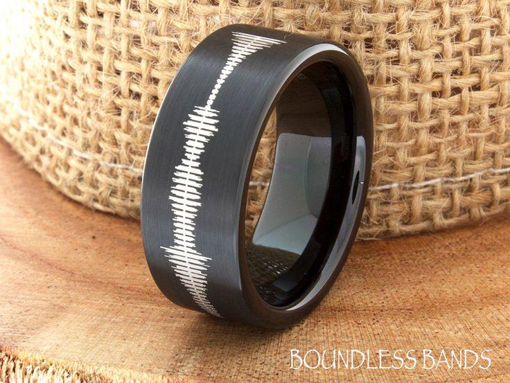 Sound Wave Tungsten Wedding Band Sound Wave Tungsten Wedding Ring Mens Tungsten Ring Customized Tungsten Band Any Sound Wave Ring Engraved by BoundlessBands on Etsy https://www.etsy.com/listing/224697691/sound-wave-tungsten-wedding-band-sound