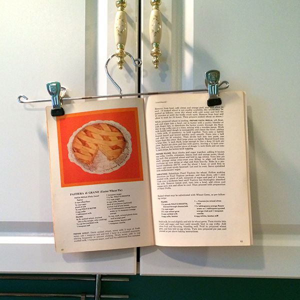 Need a simple cookbook holder? Try a pants hanger.