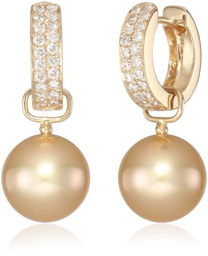 Baggins Yellow Gold Diamond With Golden South Sea Pearl Dangle Hoop Earrings